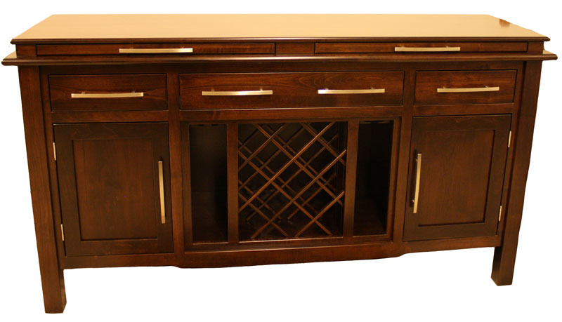 Pendleton Sideboard In Brown Maple With Wine Rack In Center