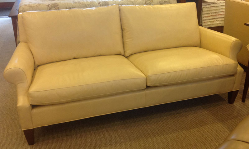 1304 Sofa With An Antique Cherry Stain And Vision Cream Leather
