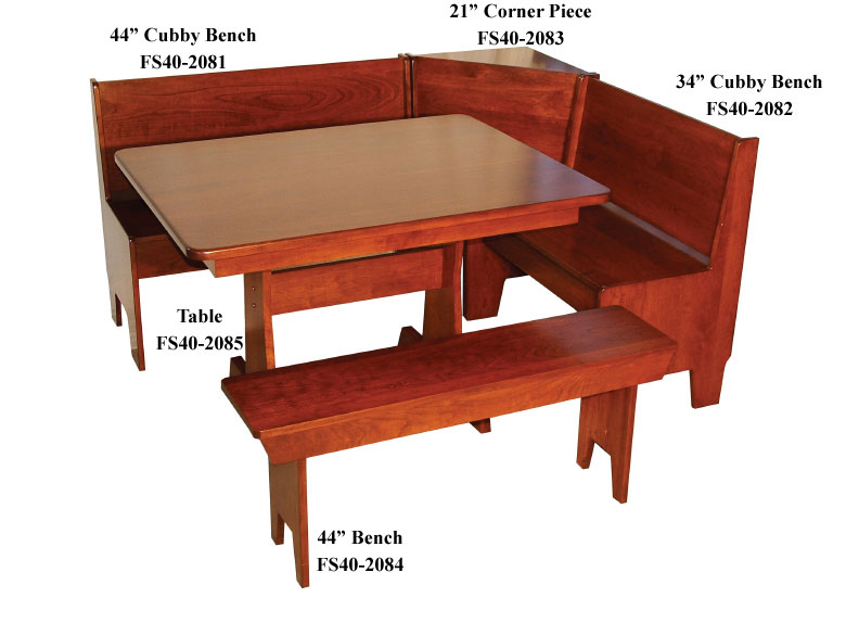 Economy Corner Breakfast Nook Set With Rectangular Table And Bench