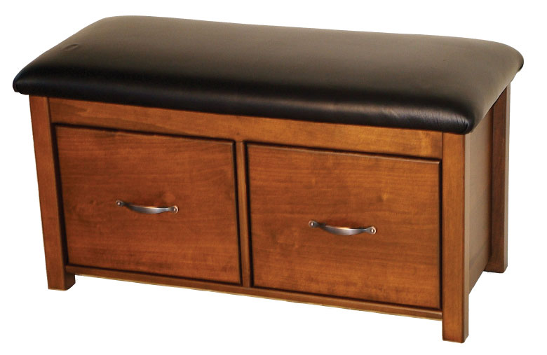 "36"" Contemporary Bench Seat with Wood Drawers and Optional Leather Seat"