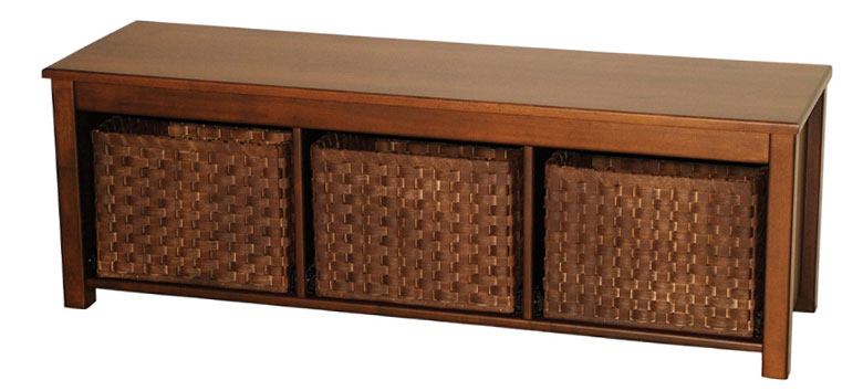 "53"" Contemporary Bench Seat with Basket Drawers and Hardwood Seat"