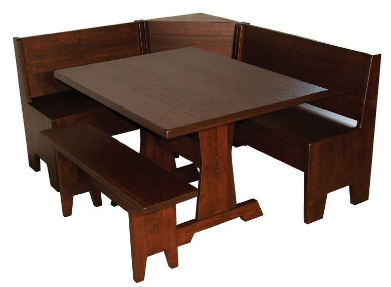 Wood Breakfast Nook Furniture ~ Heritage breakfast nook set ohio hardword upholstered