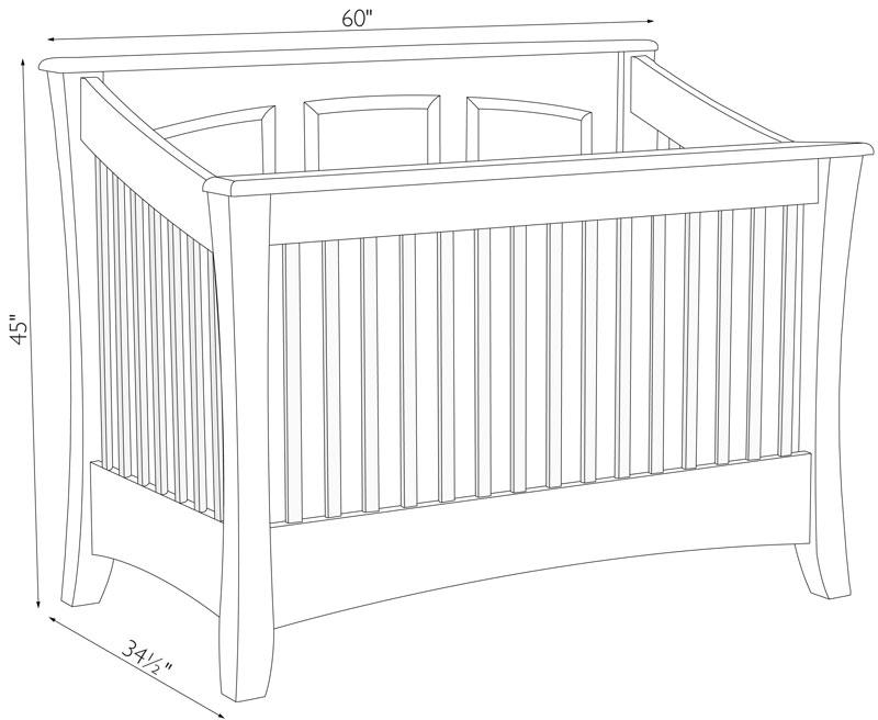 Carlisle Crib Ohio Hardword amp Upholstered Furniture : Carlisle Crib Dimensions from www.ohiohardwoodfurniture.com size 800 x 656 jpeg 56kB