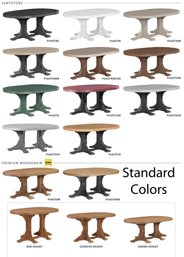 4' x 6' Oval Poly Table Standard Colors