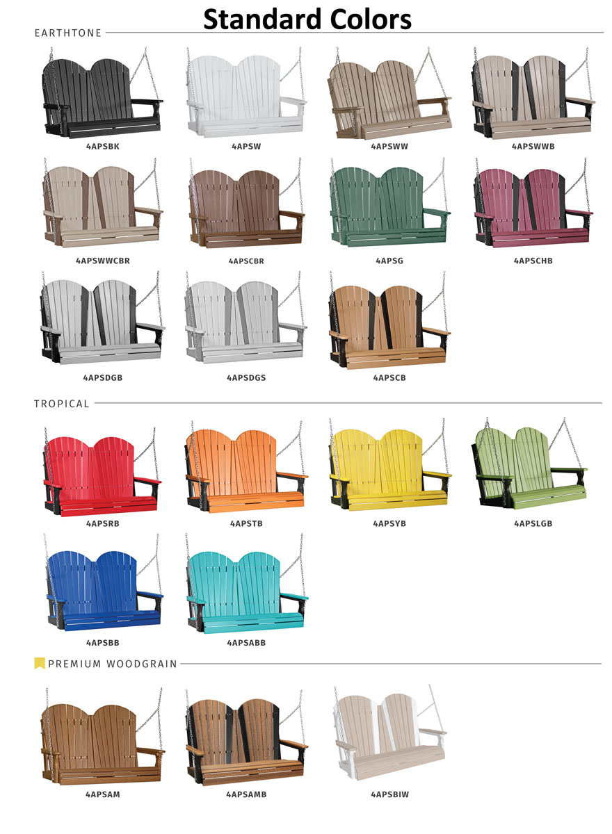 4' Adirondack Swing Standard Colors