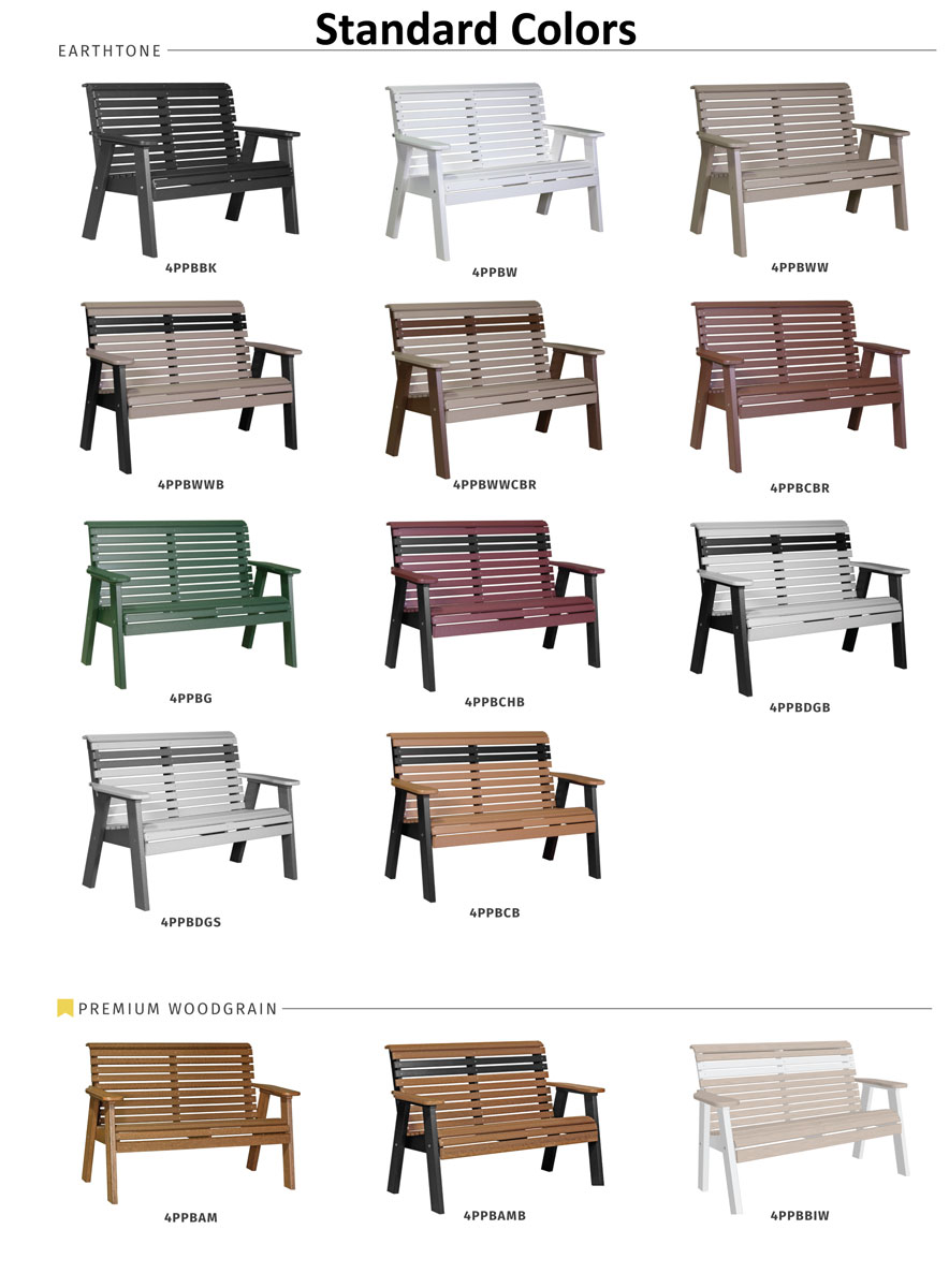 4' Plain Poly Bench Standard Colors