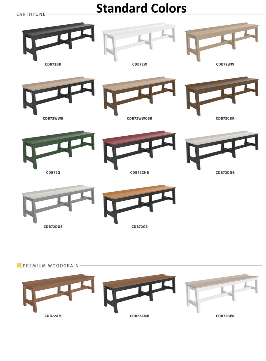 "72"" Cafe Dining Bench Standard Colors"