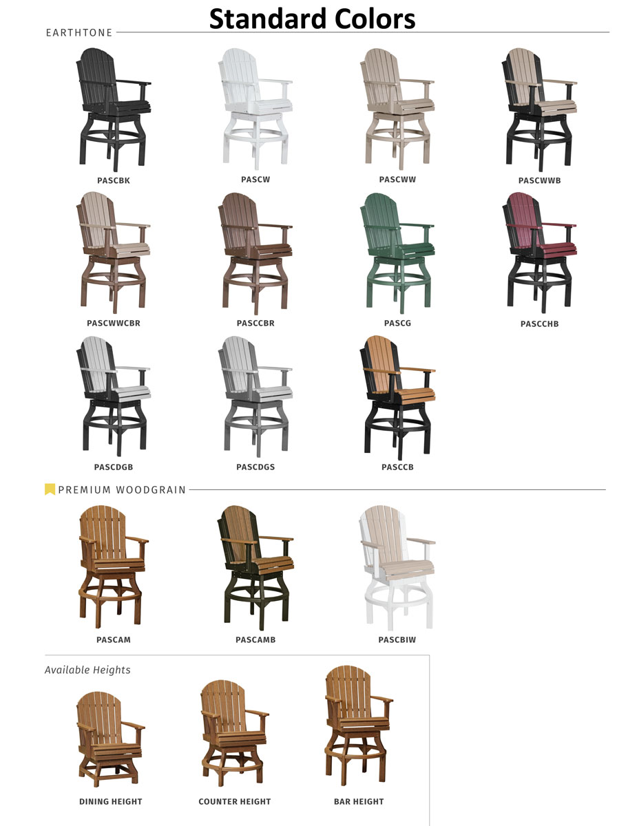 Adirondack Swivel Chair Standard Colors