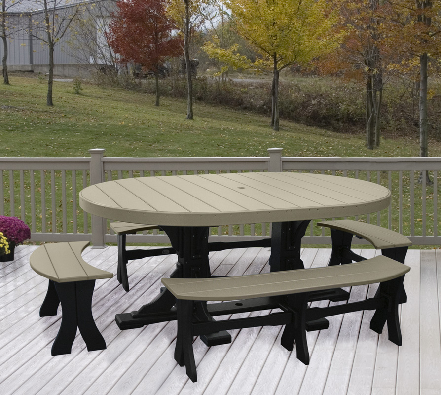 4' x 6' Oval Poly Table in Weatherwood and Black at Dining Height