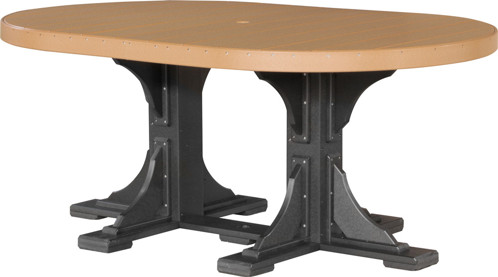 4' x 6' Oval Poly Table in Cedar and Black at Dining Height