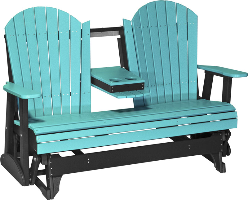 5' Adirondack Glider Shown in Aruba Blue and Black with Flip Down Center