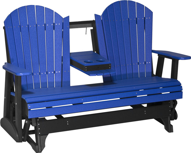 5' Adirondack Glider Shown in Blue and Black with Flip Down Center