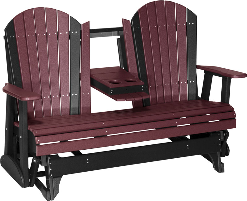 5' Adirondack Glider Shown in Cherrywood on Black with Flip Down Center