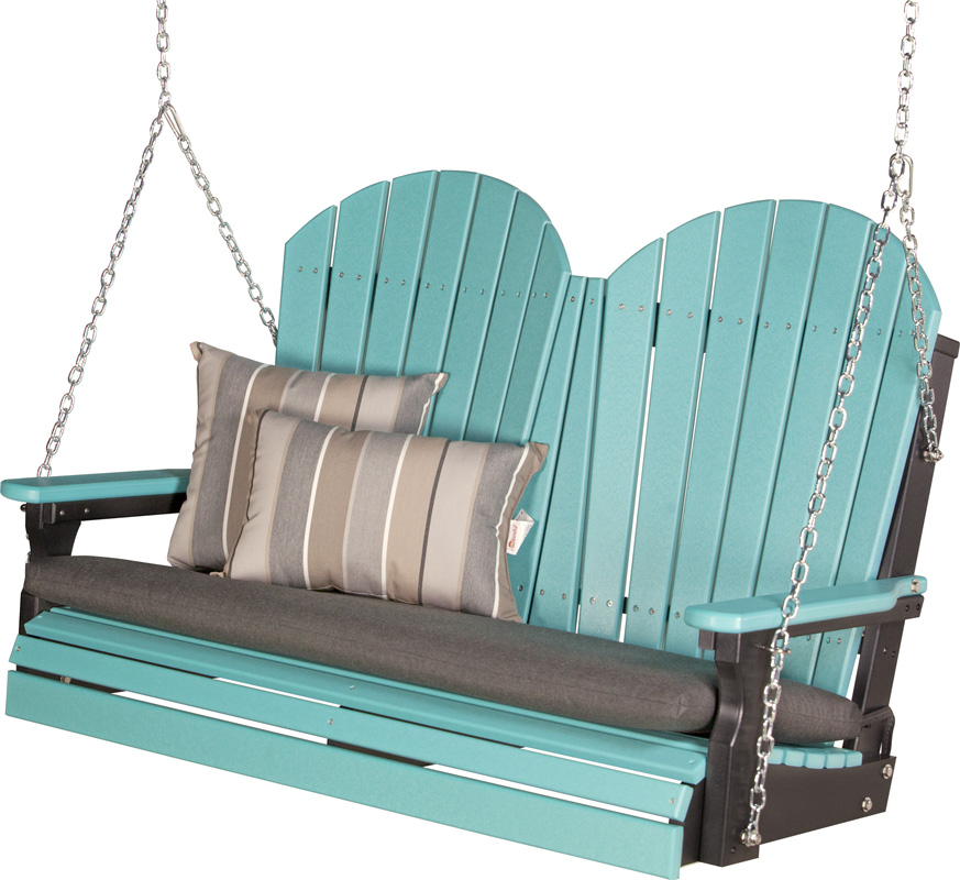 4' Adirondack Swing in Aruba Blue and Black with Cushion