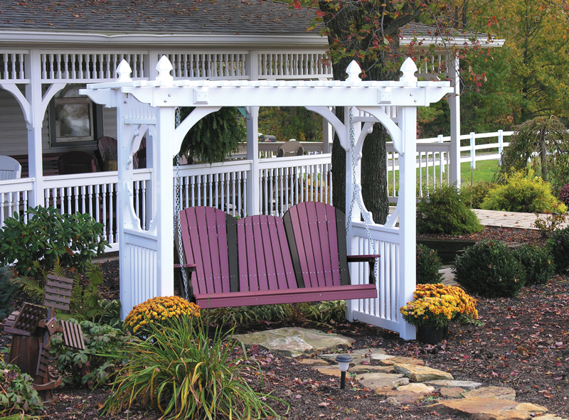 White Classic Vinyl Swing Stand and Adirondack Swing (sold separately)