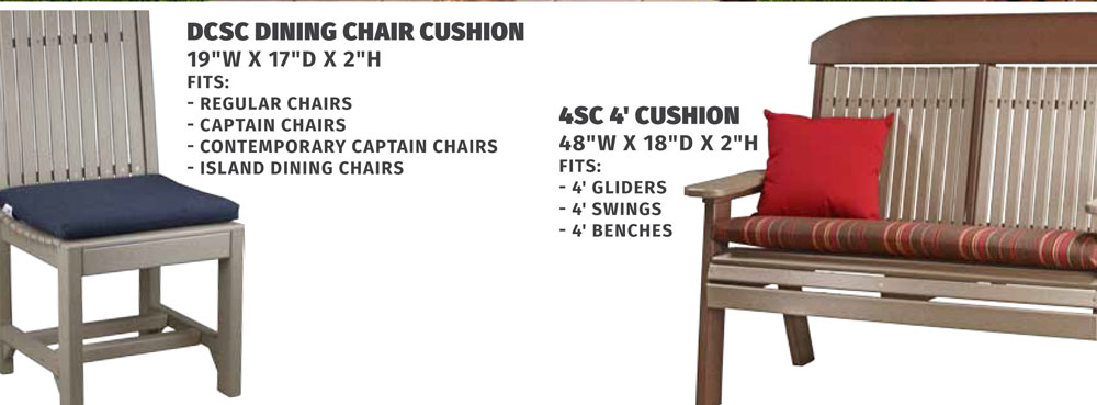 Cushion Descriptions and Dimensions