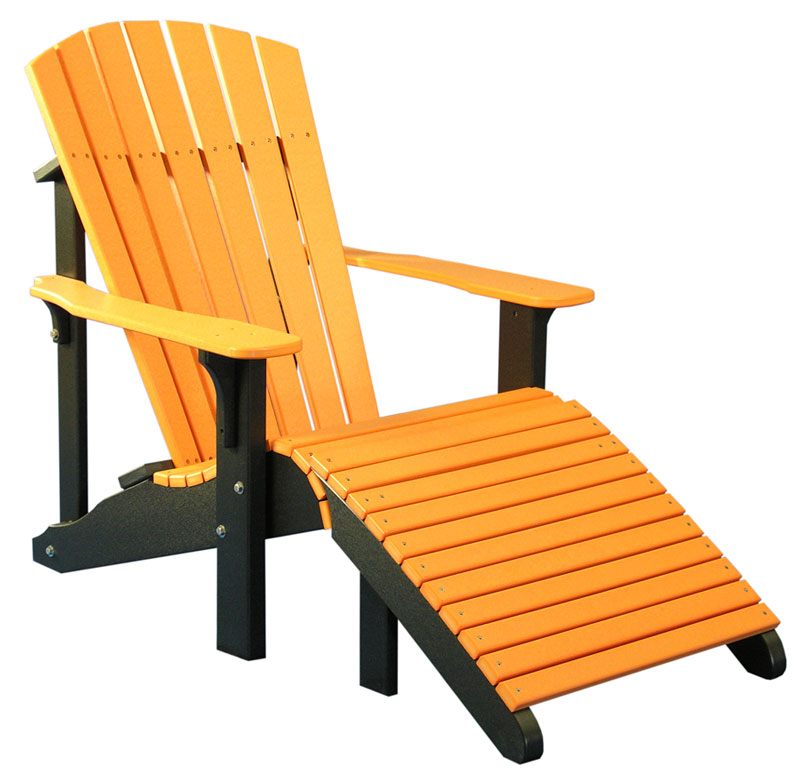 Deluxe Adirondack Chair and Footrest in Tangerine