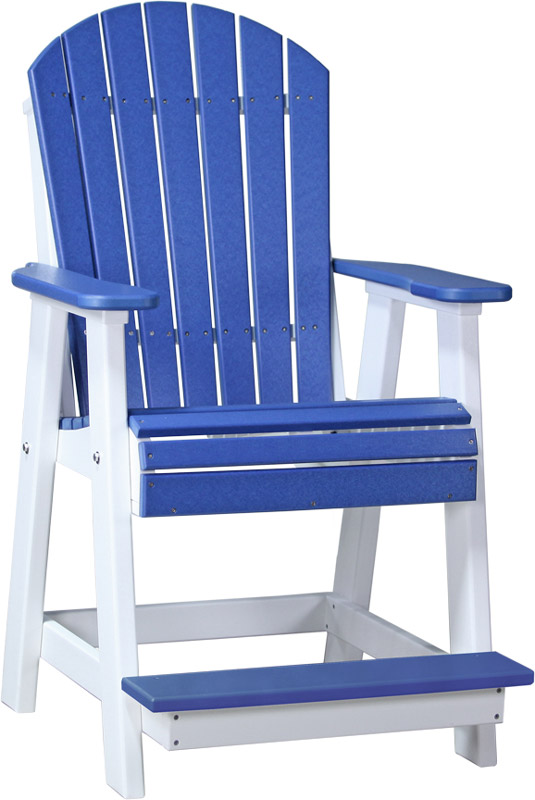 Adirondack Balcony Chair In Blue And White