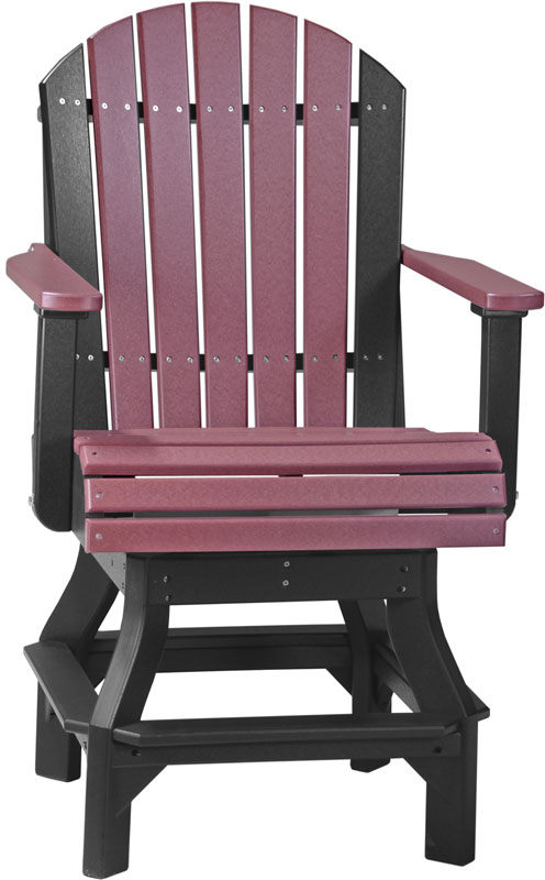 Adirondack Swivel Chair Counter Height in Cherry wood and Black