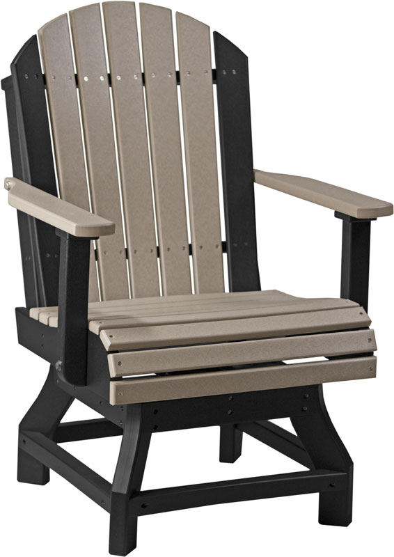 Adirondack Swivel Dining Chair Bar Height in Weatherwood and Black