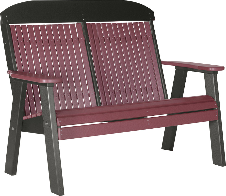 4' Classic Poly Bench in Cherrywood and Black