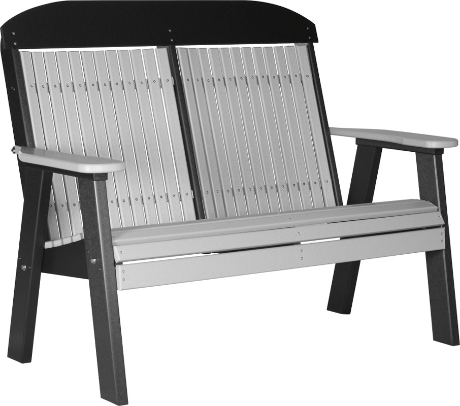 4' Classic Poly Bench in Dove Gray on Black