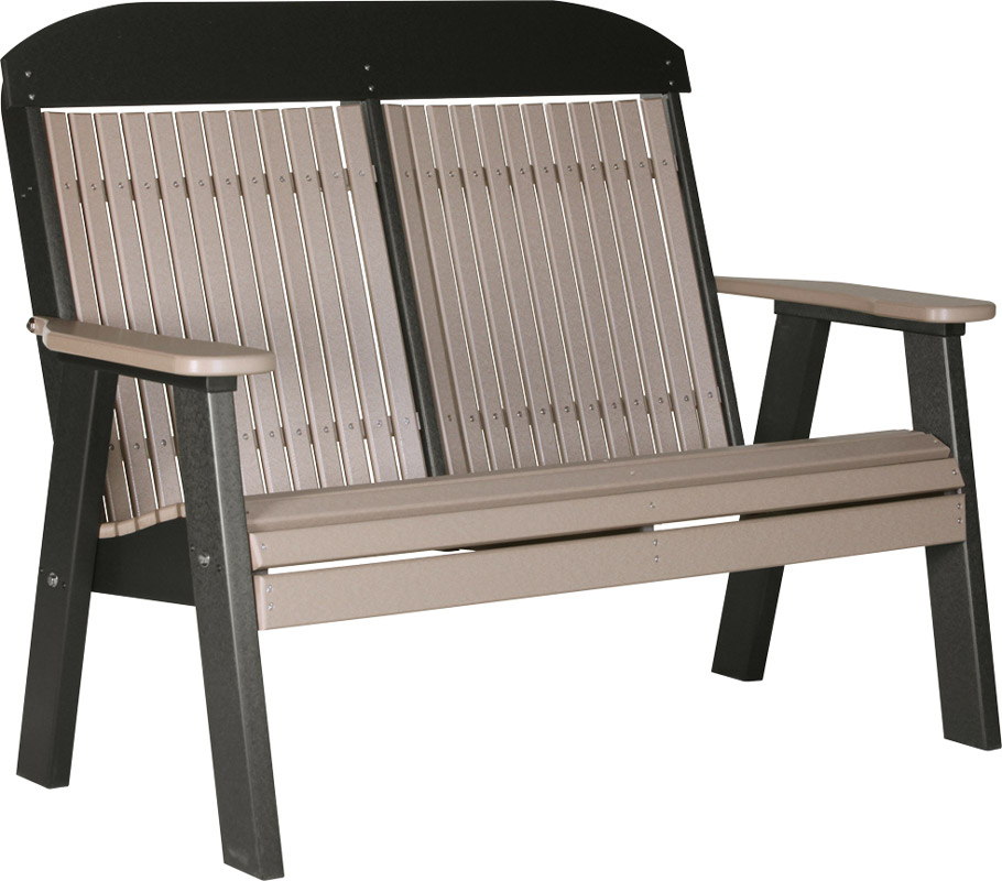 4' Classic Poly Bench in Weatherwood and Black