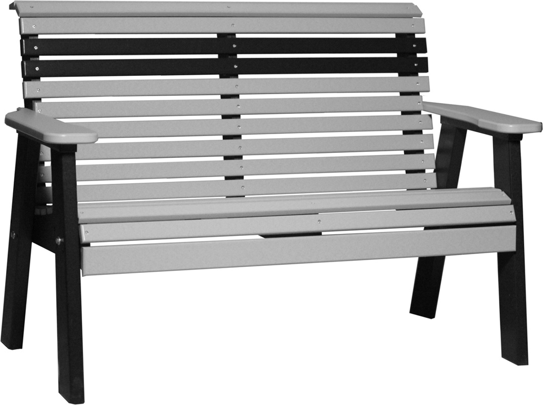 4' Plain Poly Bench in Dove Gray and Black