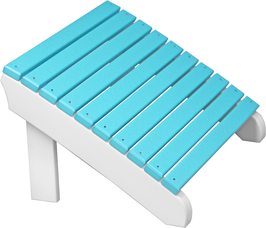 Deluxe Adirondack Footrest in Aruba Blue and White