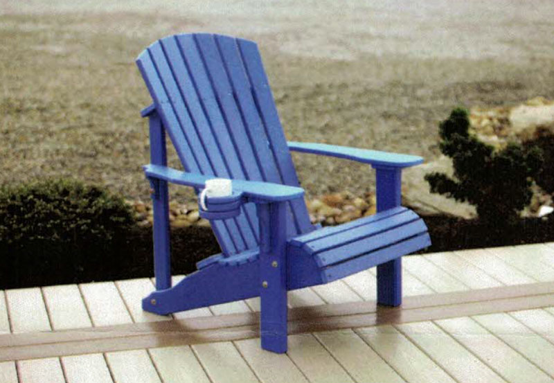 Deluxe Adirondack Chair with the Poly Stationary Cup Holder