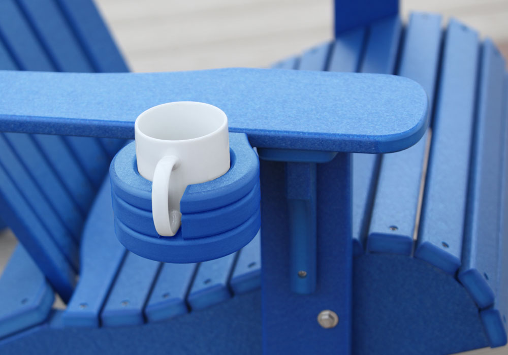 Poly Stationary Cup Holder in Blue (shown with the Deluxe Adirondack Chair)