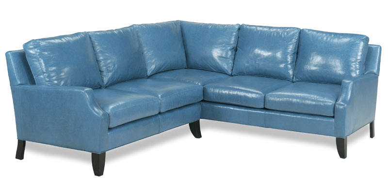 Cope Sectional 4135 Shown in a new leather Coloration: Caribe Blue Betta Leather