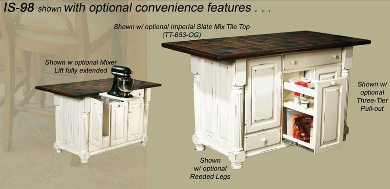 Turned leg island 98 3 door 2 drawer kitchen island in hickory with