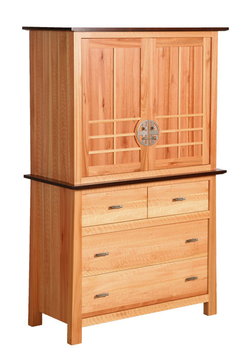 Olbrich Gardens Armoire in Lyptus with a Natural Finish on the Top and a Rich Tobacco Finish on the Bottom