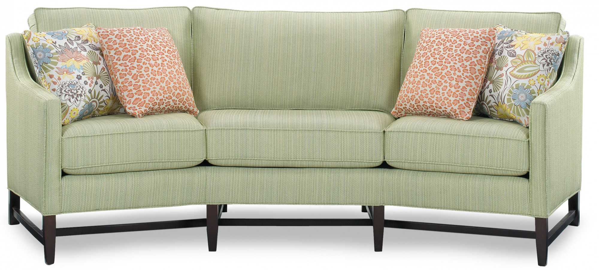 Sassy Curved Sofa 5102 100 With An Heirloom Finish And Covell Leaf Fabric.  Throw