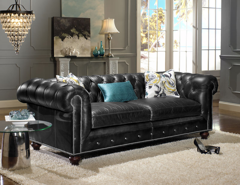 Chesterfield Sofa 7500 86 In Black Leather