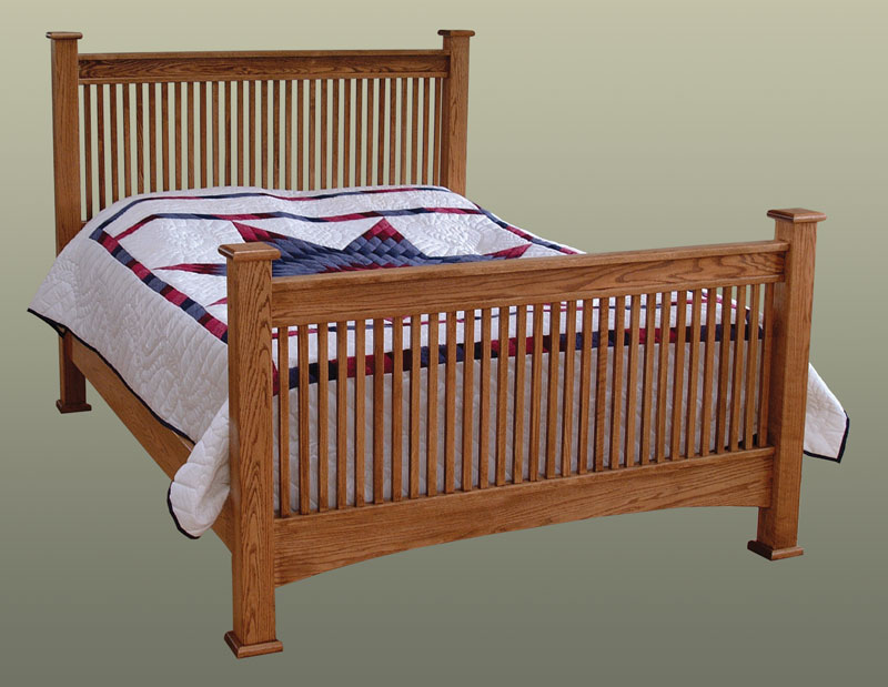 Attractive Troyer Ridge Mission Bed In Red Oak With Standard Footboard