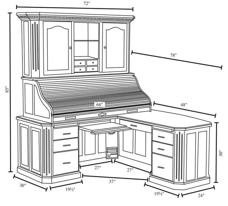 Fifth Avenue Executive Corner Roll Top Desk With Hutch Dimensions