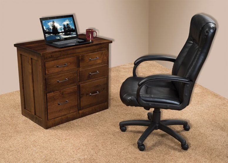 "34"" Laptop Efficiency Desk with Optional Pullout Top Closed in Brown Maple with an OCS-228 Rich Tobacco Stain"