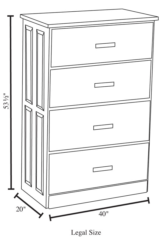 4 Drawer Lateral File Cabinet   Legal Size Dimensions