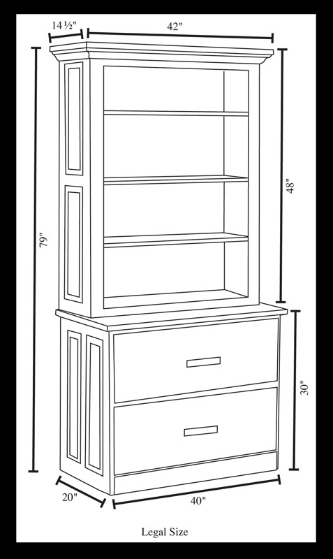 2-Drawer Lateral File Cabinet (Legal Size) Dimensions and Hutch Dimensions