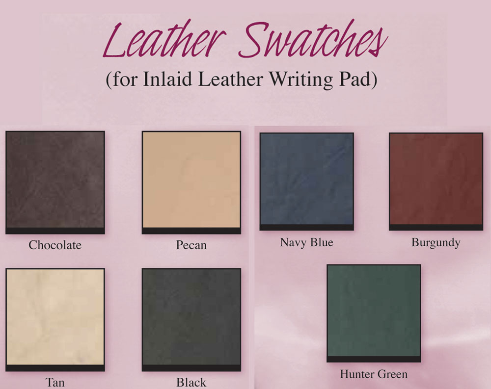 Leather Swatches for Optional Inlaid Leather Writing Pad