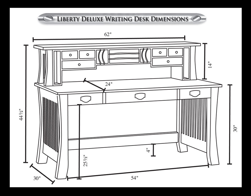 Liberty inch deluxe writing desk ohio hardwood furniture