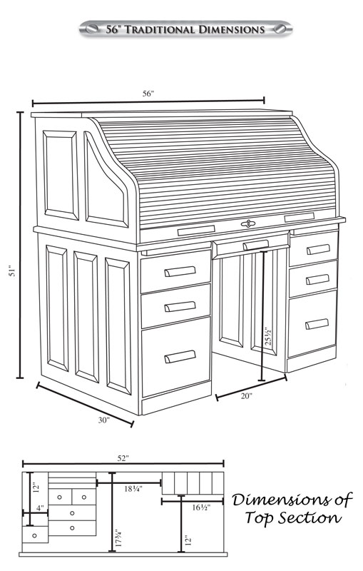 "56"" Traditional Computer Roll Top Desk Dimensions"