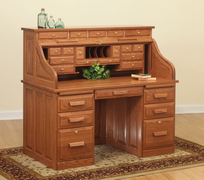 "56"" Traditional Computer Roll Top Desk with Drawers"