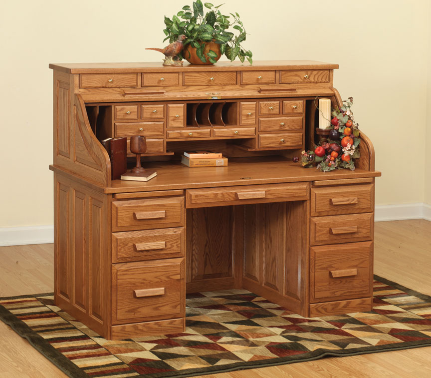 "62"" Traditional Computer Roll Top Desk with Drawers on Top"