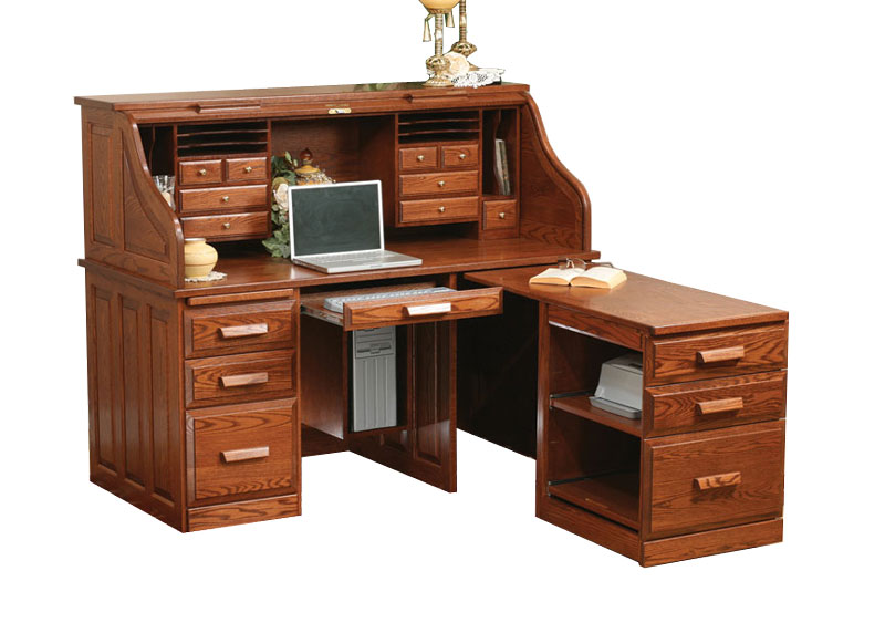 62 inch Traditional Computer Roll Top Desk with Pull-Out Return
