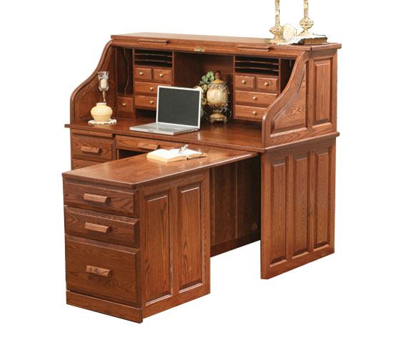 Traditional Computer Roll Top Desk