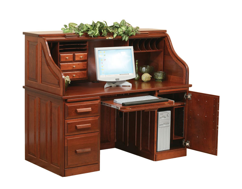 "62"" Traditional Computer Roll Top Desk"