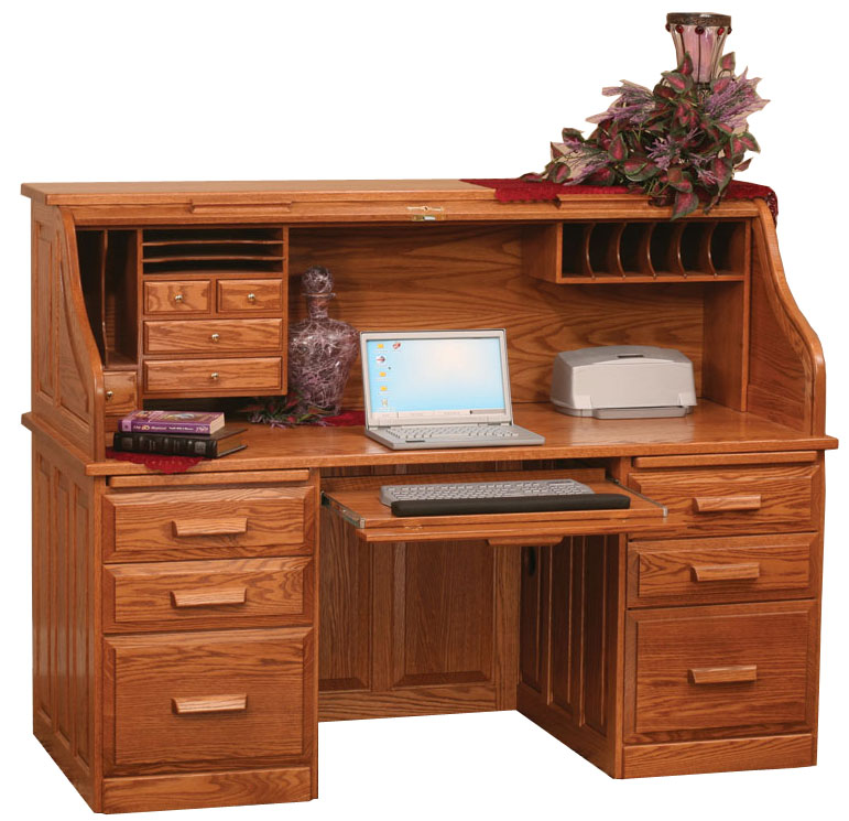 68 Traditional Computer Roll Top Desk In Oak With Ocs 102 Fruitwood Stain